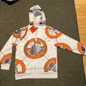 Boys BB-8 Star Wars Disney hoodie size Large NWT